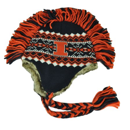 NCAA Illinois Fighting Illini Mohawk '47 Brand Tassel Knit Beanie Faux Fur Hat