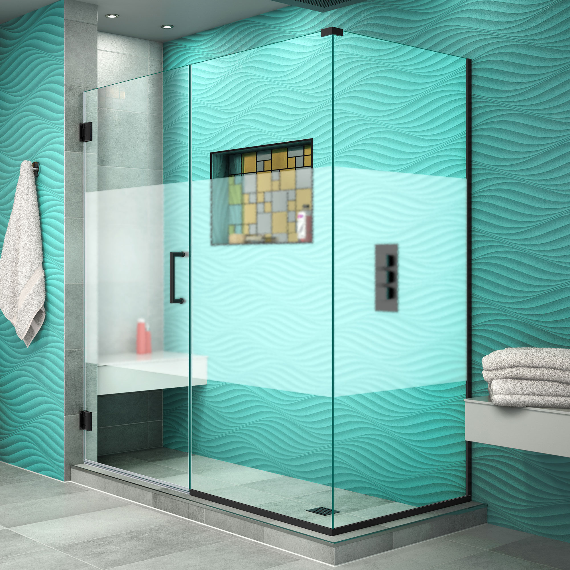 Dreamline Unidoor Plus 60 In W X 30 3 8 In D X 72 In H Frameless Hinged Shower Enclosure Frosted Band Brushed Nickel