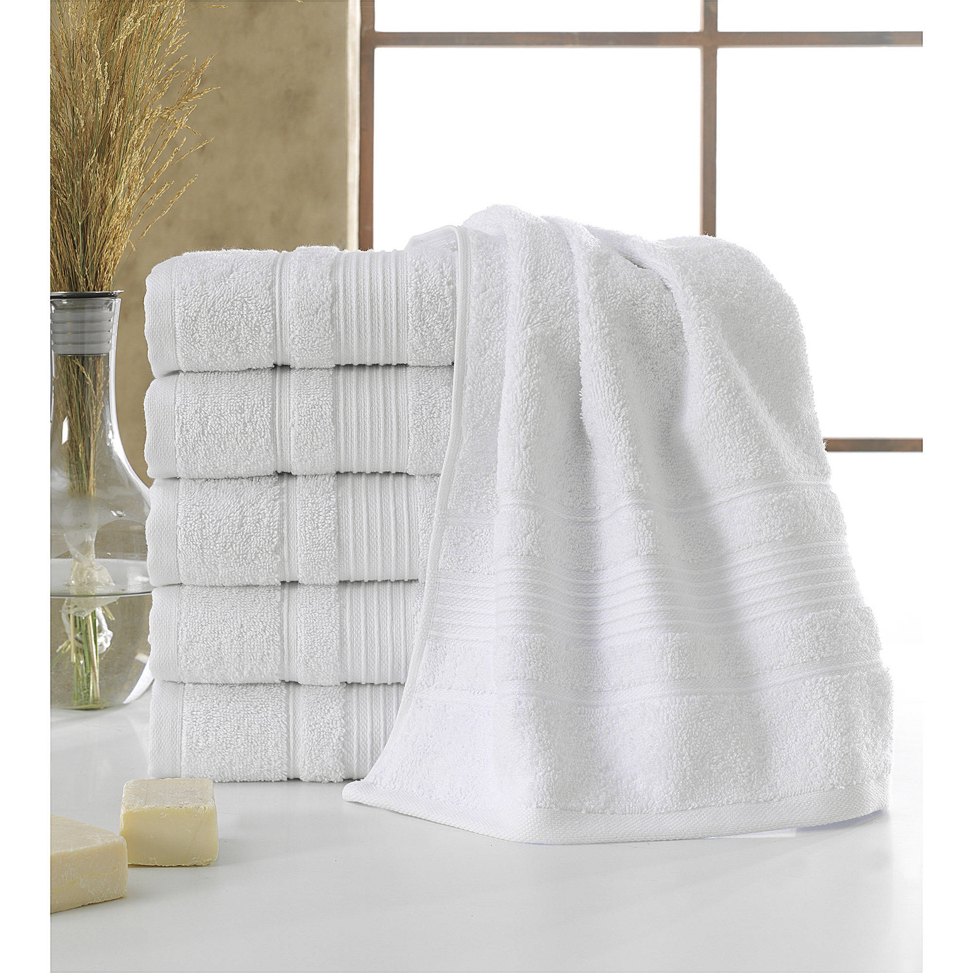 "Ottomanson Luxury Hotel and Spa Hand Towels 6-Piece Set, 16"" x 30"", Turkish Cotton"