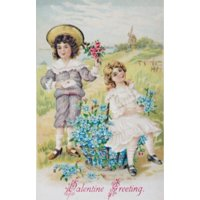 Valentine Greeting Nostalgia Cards 1900 Stretched Canvas -  (18 x 24)