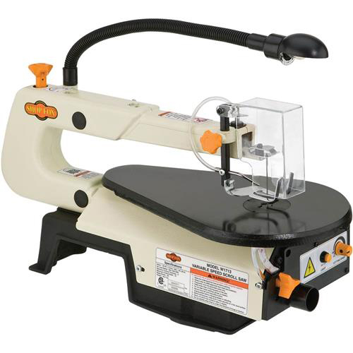 "Shop Fox W1713 16"" Variable Speed Scroll Saw with Work Light and Dust Blower by"