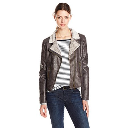 Lined Shearling Vest - ANORAK Women's Faux Shearling Moto Jacket, Charcoal, Medium