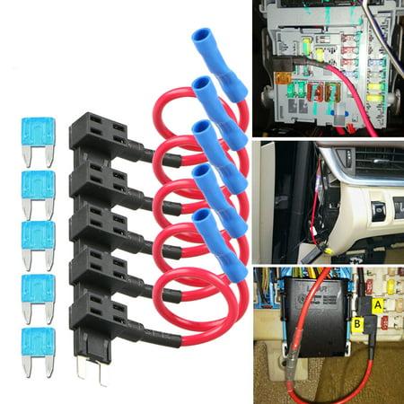 TSV 5PCS Add-A-Circuit Mini Fuse Tap Adapter Low Profile APS ATT Micro Blade Car Auto