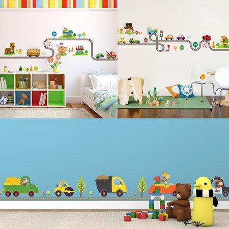 Moderna Cartoon Car Road Pattern Removable Wall Stickers DIY Art Decal Kids Room - Car Room Decor