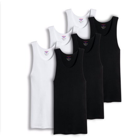 Cotton Ribbed Tank (Value Packs of Men's Black & White Ribbed 100% Cotton Tank Top A Shirts Undershirt  (2XL, 6 Pack Mixed))