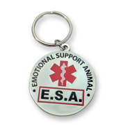"""Official """"Emotional Support Animal"""" ESA Round Hanging ID Tag - Hang from a Collar, Vest, Harness or Leash. Great form of identification for small to large emotional support dogs"""