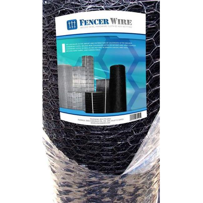 Fencer Wire 4 x 150 ft.  20 Gauge Hex Netting Vinyl Coated Black, 1 inch Mesh