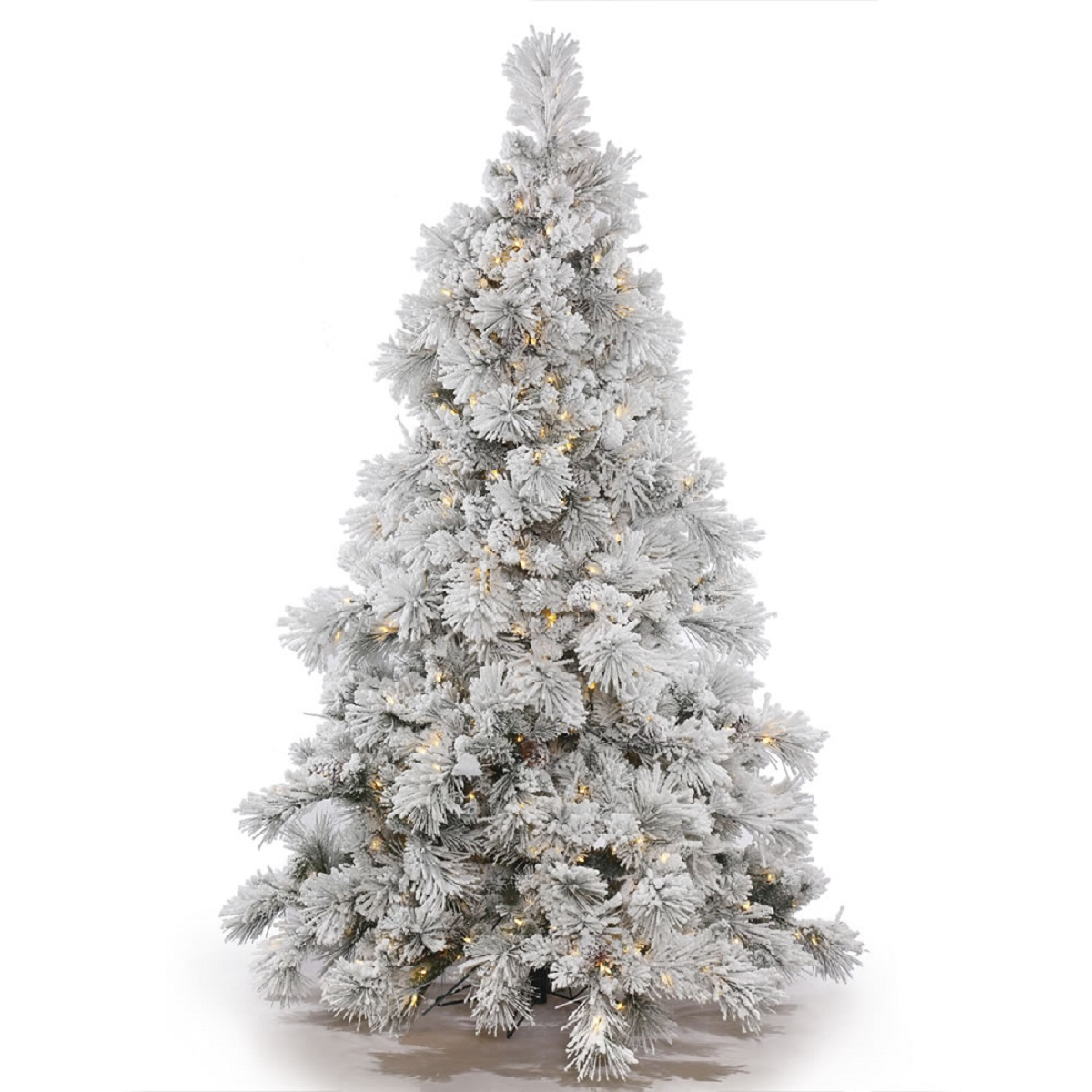 "6.5' x 58"" Pre-Lit Flocked Alberta with Pine Cones Artificial Christmas Tree- Clear Lights"