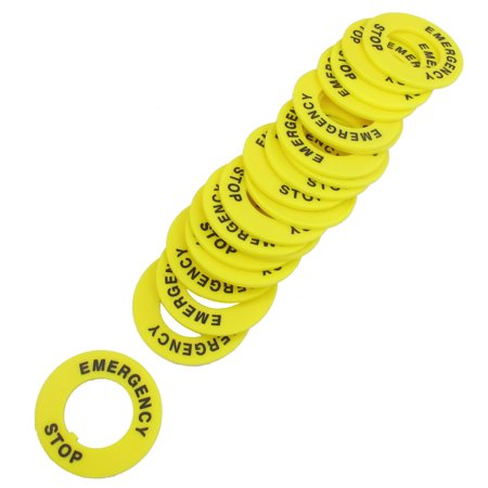 Unique Bargains 40mmx22mm Yellow Emergency Stop Warning Ring Replacement 20 Pcs