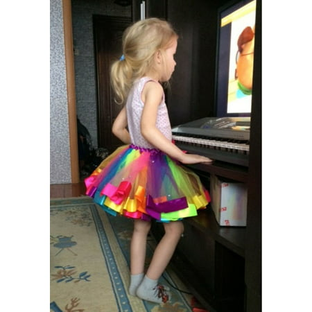 Kids Lovely Handmade Colorful Tutu Skirt Girls Rainbow Tulle Tutu Mini Dress