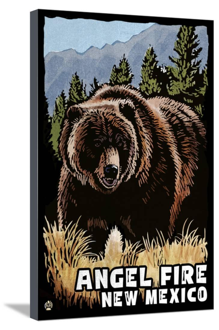 Angel Fire New Mexico Grizzly Bear Scratchboard Prints, Signs, Canvas, More