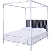 Metal Framed Queen Size Canopy Bed with Pattern Fabric Upholstered Headboard, Silver and Black
