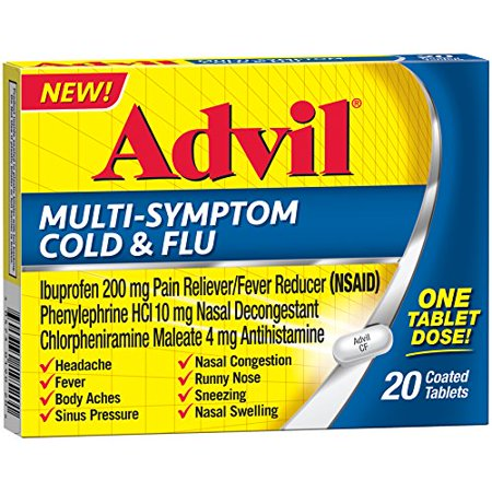 2 Pack Advil Multi-Symptom Cold & Flu Coated Tablet 200mg Ibuprofen, 20 tabs ea