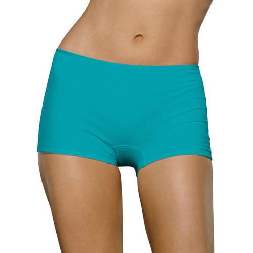 Women's 6 Pack Comfort Covered Waistband Boyshort Panties, Assorted, 5