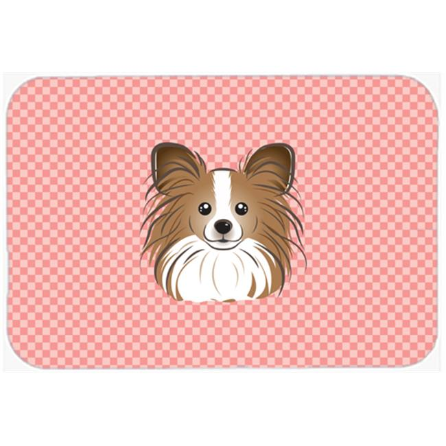 Checkerboard Pink Papillon Mouse Pad, Hot Pad Or Trivet, 7.75 x 9.25 In.