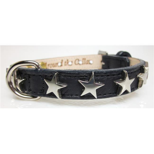 Around the Collar Genuine Leather Collar with Nickel Stars