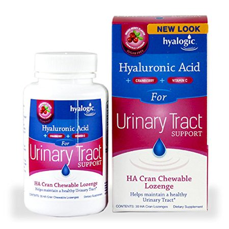 Hyalogic HA Cran Chewable Lozenge Urinary Tract Support - Helps Maintain a Healthy Urinary Tract - 30 Cranberry Lozenges