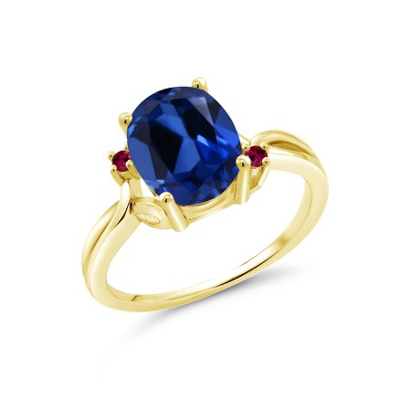 3.33 Ct Oval Blue Simulated Sapphire Red Created Ruby 14K Yellow Gold Ring Blue Sapphire 14kt Gold Ring