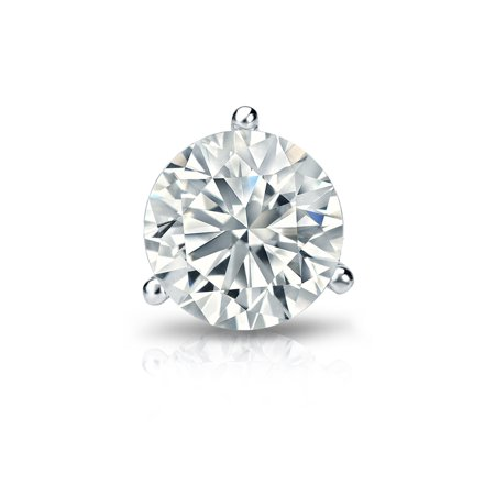 Platinum 3-Prong Martini Round Diamond SINGLE STUD Earring (1/8 - 1 cttw, H-I, I2-I3) Screw-Back (Single Diamond Earring Screw Back)