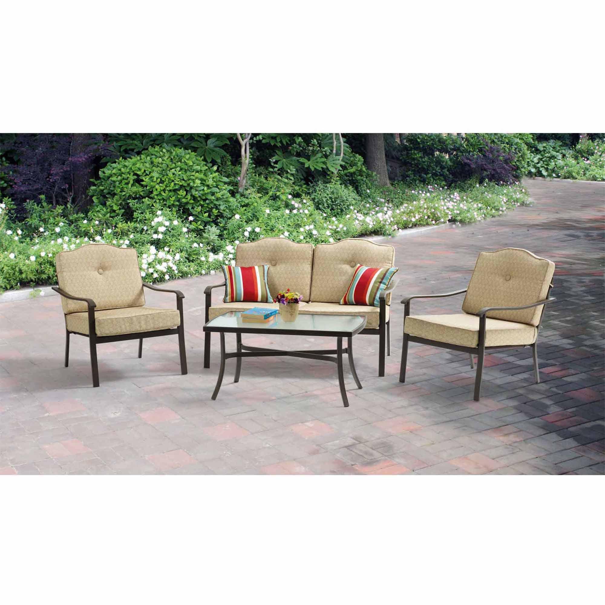 Mainstays Brookwood Landing 4-Piece Patio Conversation Set, Tan, Seats 4