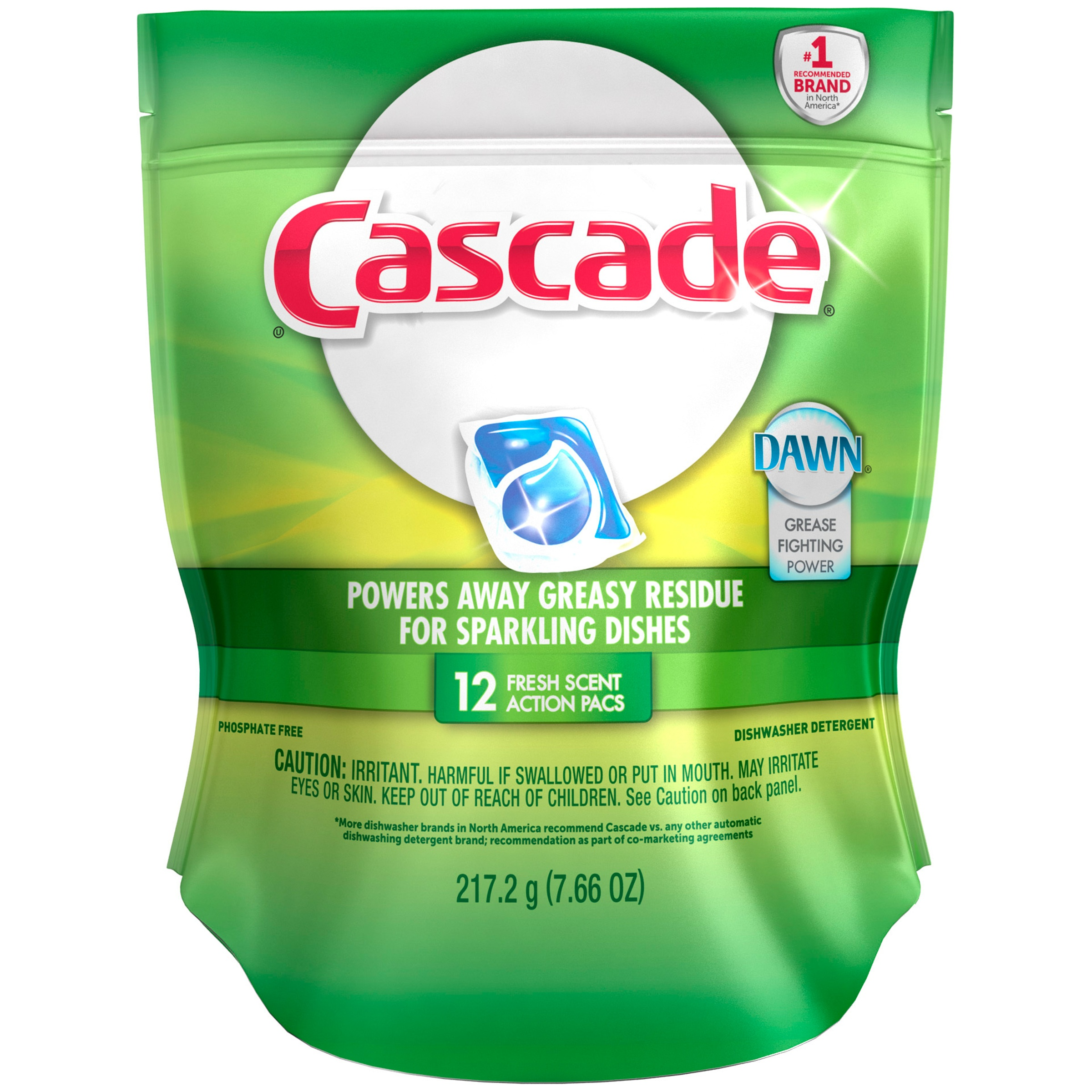 Cascade Dawn Fresh Scent Action Pacs Dishwasher Detergent 12 ct