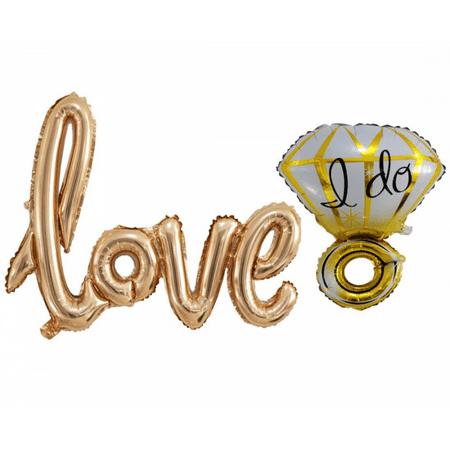 Langxun Handwritten Rose Gold Love Balloon And Gold Diamond Balloon