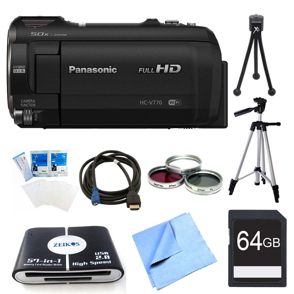 Panasonic HC-V770K HD Camcorder 64GB Bundle - Includes Ca...