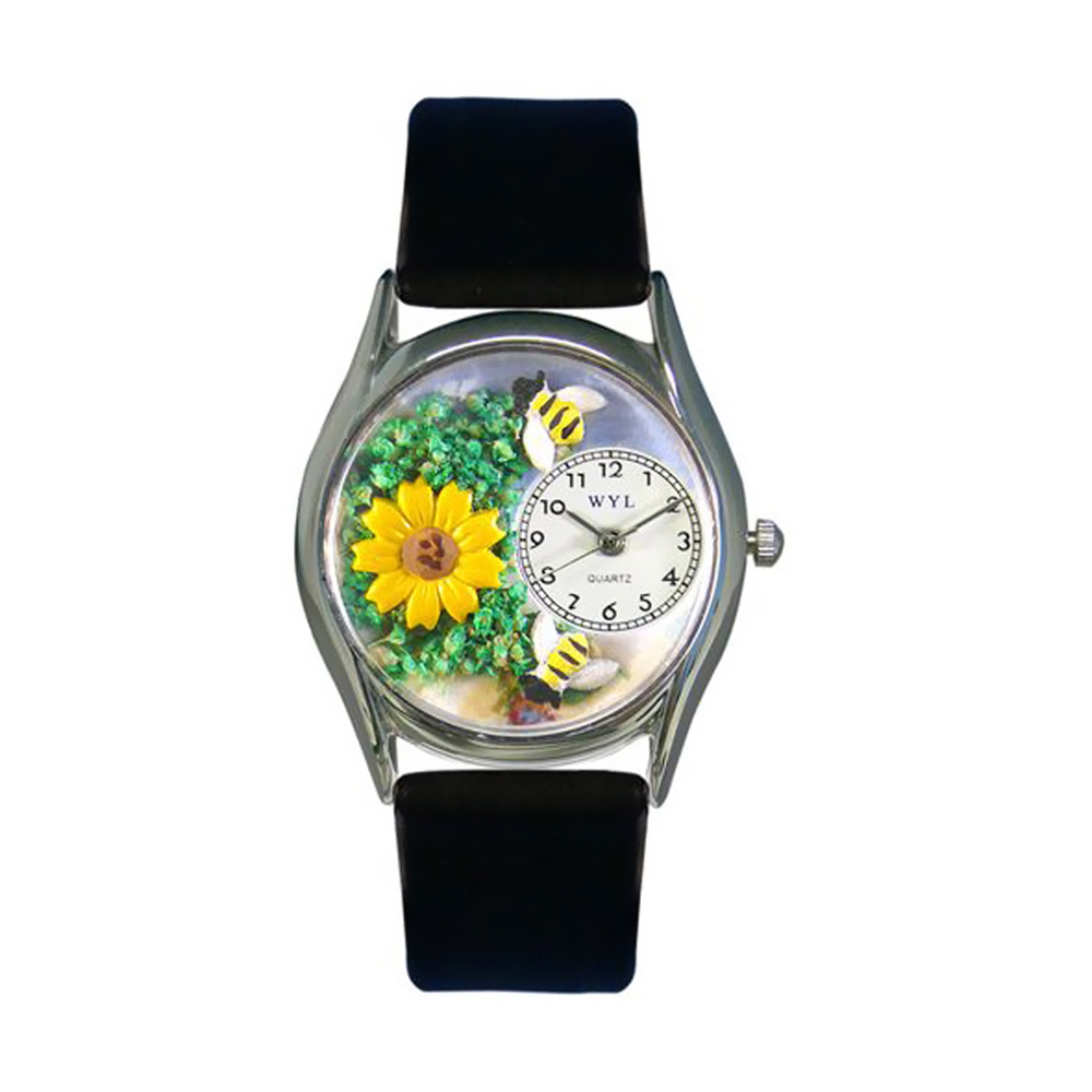 Whimsical Sunflower Black Leather And Silvertone Watch