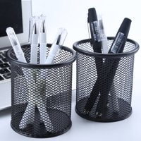 Siaonvr 2Pcs Office School Height Pen and Pencil Holder Wired Mesh Design Durable Black