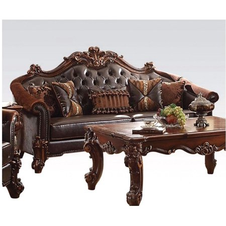 acme vendome ii sofa with 5 pillows in dark brown and cherry finish 53130 Dark Brown Cherry Finish
