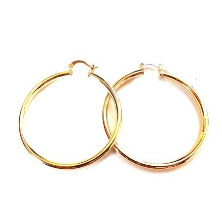Gold Plated Round Hoop Earrings 2 inch 2 Gold Hoop Earrings