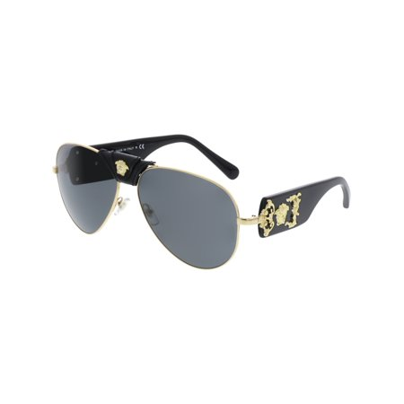 Versace Men's Mirrored VE2150Q-100287-62 Gold Aviator Sunglasses (Sunglasses Men Persol)
