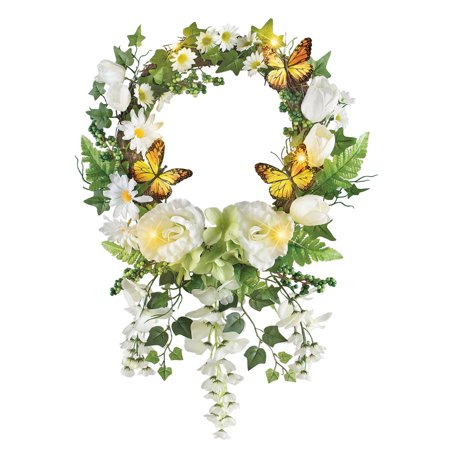 Lighted White Garden and Butterfly Wreath with Hanging Wisteria and Ivy - Spring Home Décor](Umbrella Wreath)
