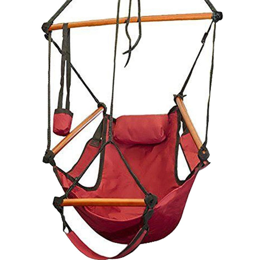 Ktaxon Hammock Hanging Chair Air Deluxe Outdoor Chair Solid Wood 250lb Red