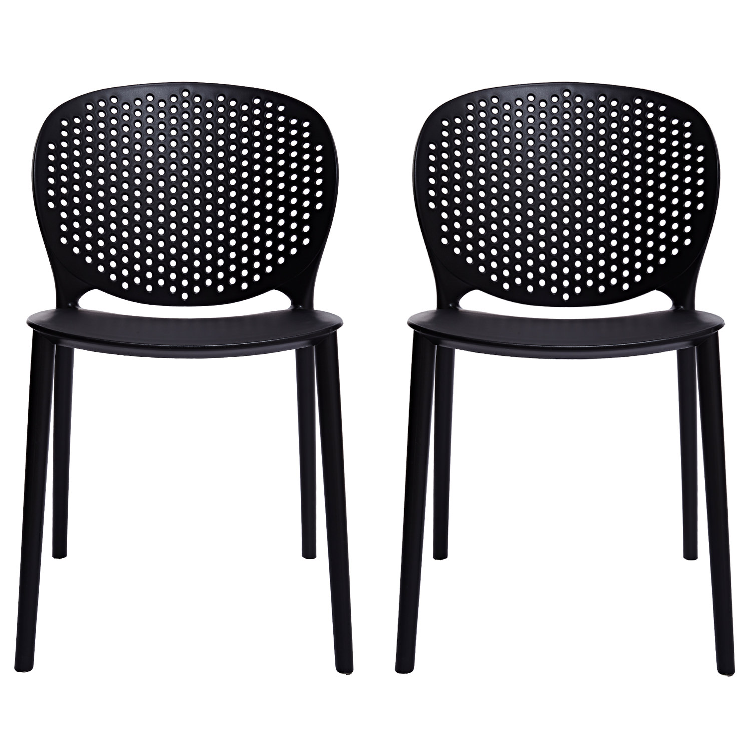 2xhome Set Of 2 Black Contemporary Modern Stackable