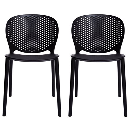 2xhome Set Of 2 Black Contemporary Modern Stackable Embled Plastic Chair Molded With Back Armless Side