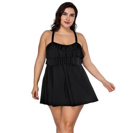 FeelinGirl Women's Plus-Size Swimsuit Retro Print Two Piece Pin up Tankini Swimwear](Plus Size Pin Up)