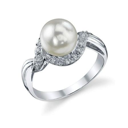 8-8.5mm Akoya Cultured Pearl & Diamond Shira Ring in 14K Gold ()
