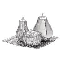 Decmode Glam 8 X 12 Inch Silver Ceramic Fruits On Woven Tray Decor, Silver - Set of 4