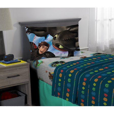 Dragon Bed Set - How to Train Your Dragon 3 Sheet Set, Kids Bedding, Twin, Fly Dragon Fly