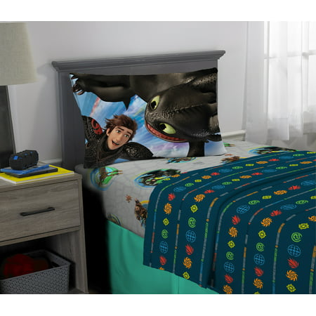 How to Train Your Dragon 3 Sheet Set, Kids Bedding, Twin, Fly Dragon Fly ()