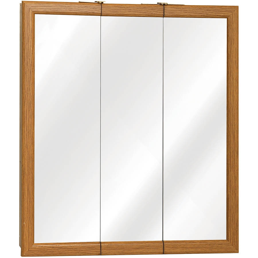 "Zenith K24 24"" x 26"" x 4.5"" Oak Framed Tri-View Medicine Cabinet by Zenith Products"