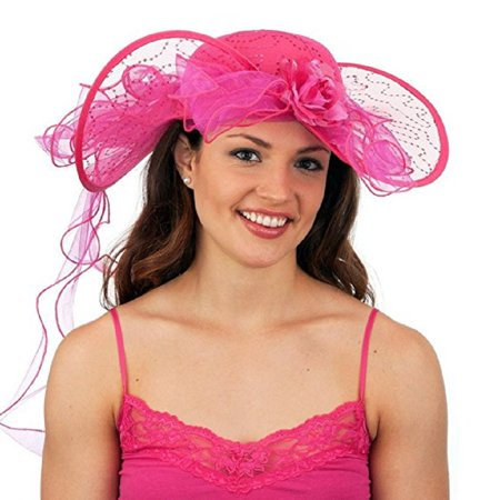 Jacobson Hat Company Fuchsia Southern Belle Kentucky Derby Colonial Western Lace](Southern Belle Hat)