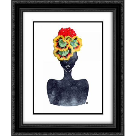 Flower Crown Silhouette IV 2x Matted 20x24 Black Ornate Framed Art Print by Brown, - Black Flower Crown