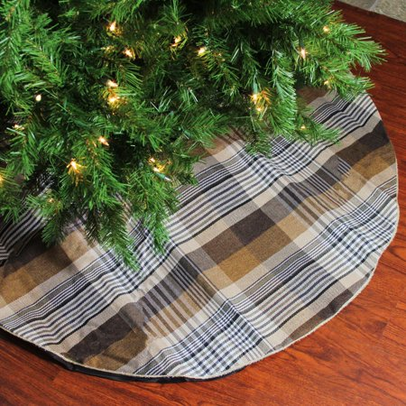 48 Red And Green Plaid Rustic Woodland Christmas Tree Skirt With Green Trim
