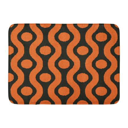 GODPOK Geometric Abstract Black and Orange Ogee Ikat Polka Dot Pattern Beautiful Graphic Rug Doormat Bath Mat 23.6x15.7 inch - Black And Orange