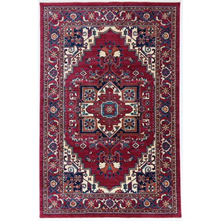Antep Rugs ORIENTAL Collection TEBRIZ Oriental Polypropylene Area Rug (RED/IVORY , 8' X 10') 10 Square Oriental Rug