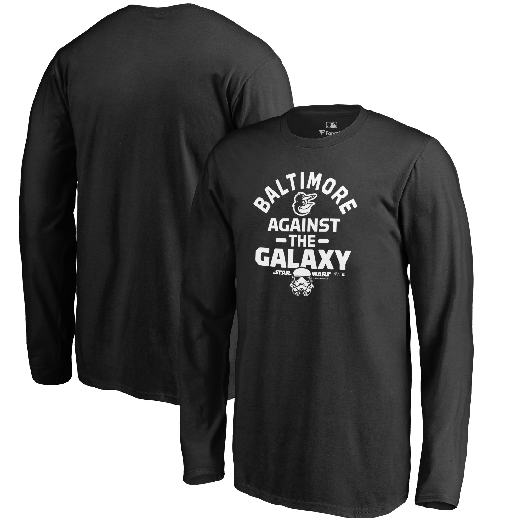 Baltimore Orioles Fanatics Branded Youth MLB Star Wars Against The Galaxy Long Sleeve T-Shirt - Black