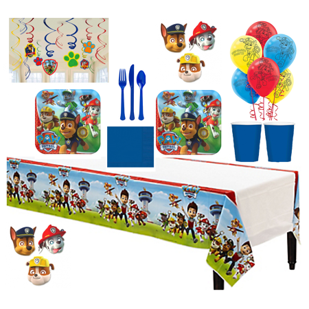 Paw Patrol Square Deluxe Party Kit - Plates, Cups, Napkins, Tablecover, Swirls, Masks, and - Easy Paper Plate Halloween Masks