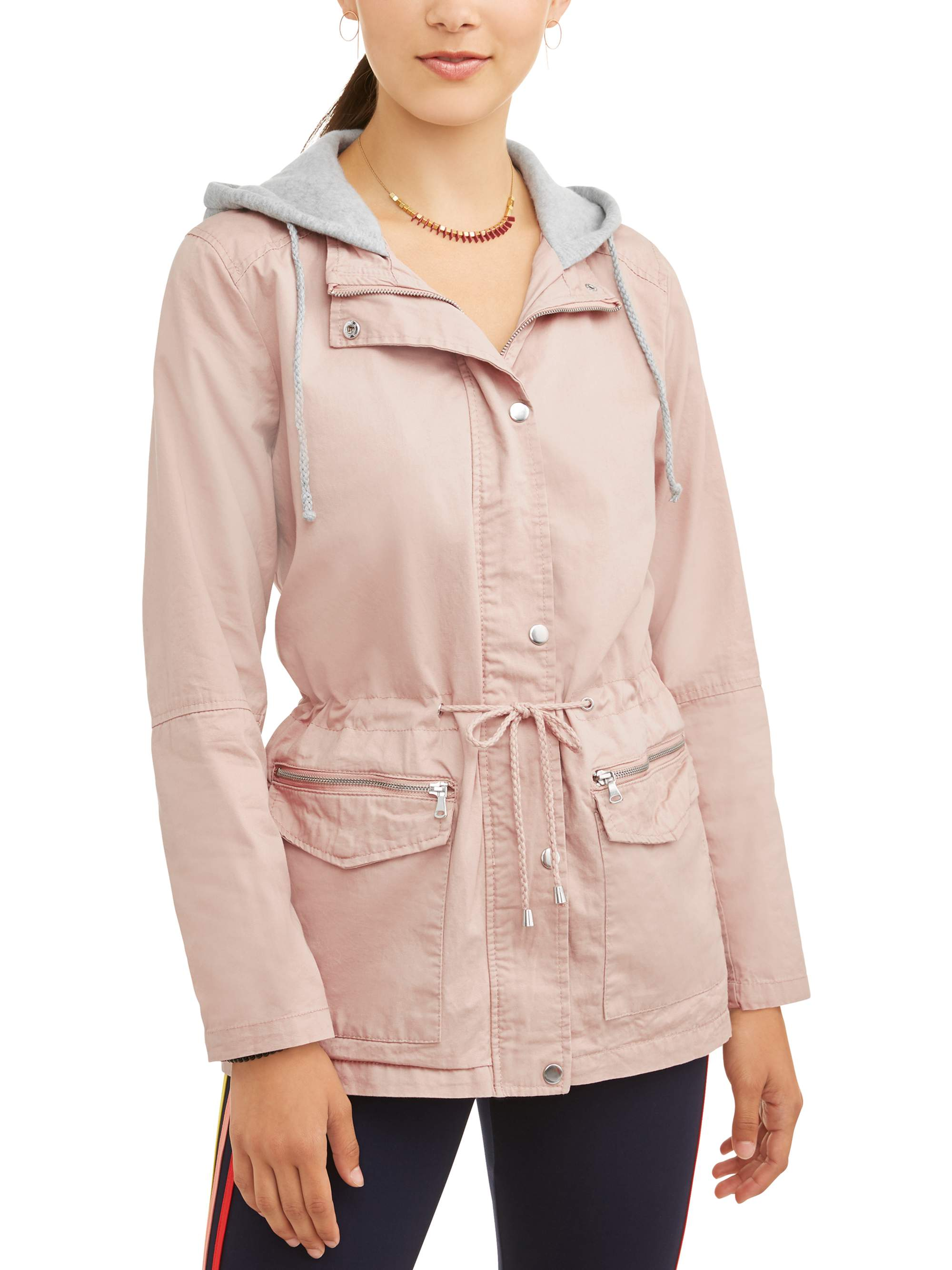 Juniors' Zip Up Anorak Jacket with Sweatshirt Hoodie 2fer